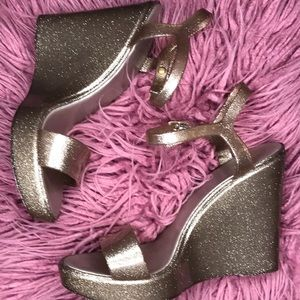 Bamboo Sparkle Glitter Rubber Wedges 41